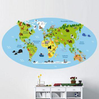 kinder-wereldkaart-muursticker-kleurrijk-goedkoop