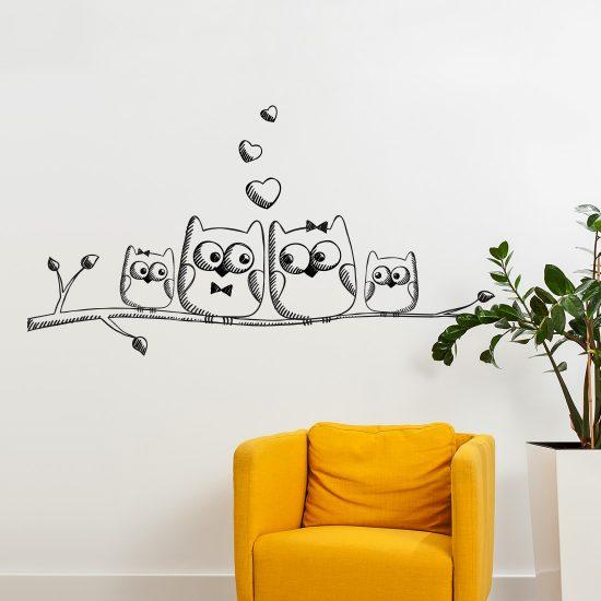 muursticker uilen op tak woonkamer slaapkamer kinderkamer