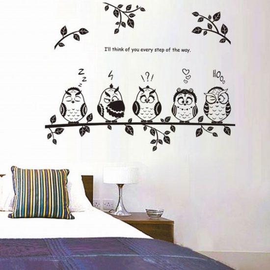 Schattige uilen op tak - Stickers decorativos para dormitorios ...