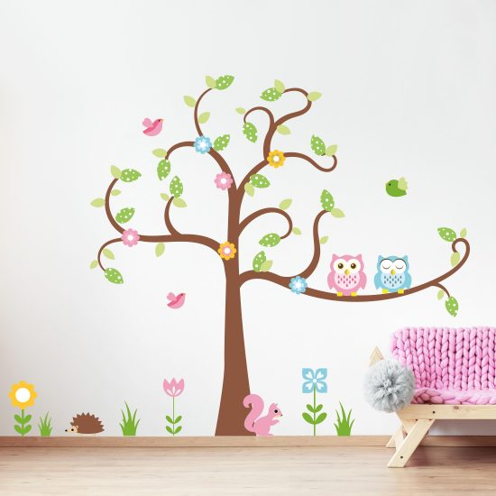 Kinderkamer Muursticker Boom.Muursticker Boom Met Uilen Vogels Vrolijke Kinderkamer Muurstickers