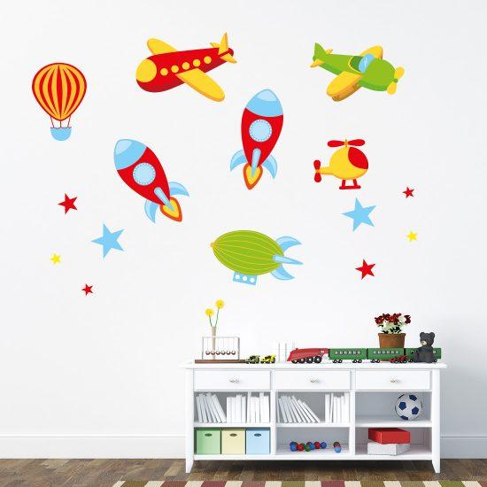 raketten-en-vliegtuigen-muurstickers-voor-de-kinderkamer