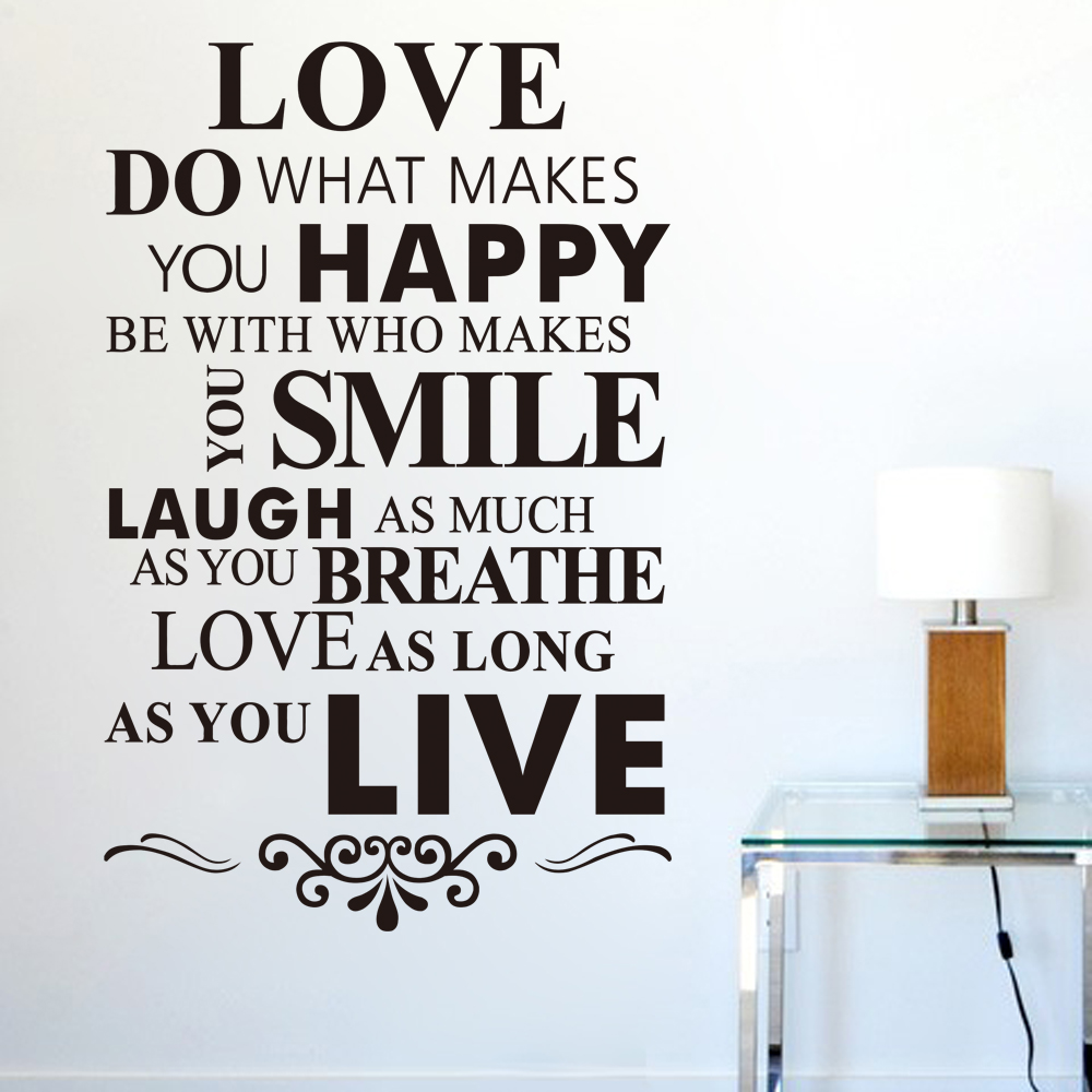 New English Love Quotes: Do What Makes You Happy Muursticker