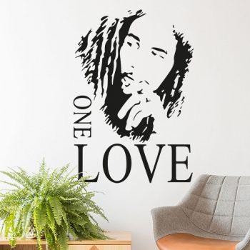 muursticker-bob-marley-one-love-woonkamer-reggae-zanger-sticker-zwart
