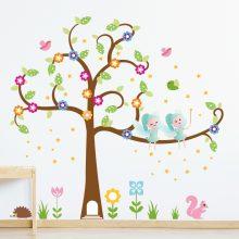 muursticker elfenboom kinderkamer meisjeskamer roze kleurrijk elfjes elfen vogels sterren