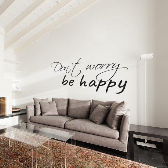 Don\'t Worry Be Happy Muurtekst Muursticker v.a. 14,95 & Gratis ...