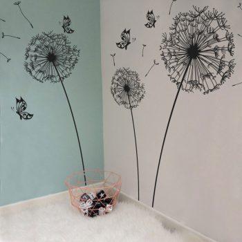 paardenbloem muursticker wandsticker wanddecoratie muur goedkoop zwart vlinders natuur