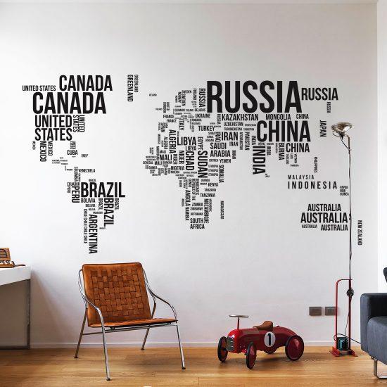 wereldkaart tekst muursticker in je eigen formaat amp gratis