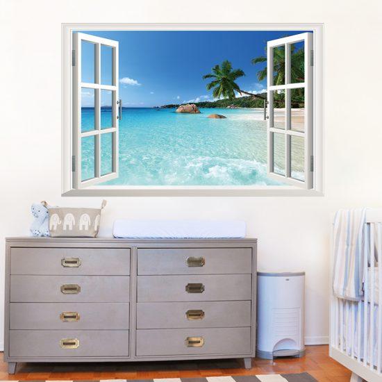 muursticker raam uitzicht strandwoonkamer slaapkamer
