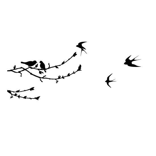 Muurstickers Tak Met Vogels.Muursticker Met Vogels En Takken Geheel Naar Wens Tip