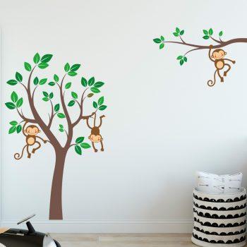 muursticker-boom-met-apen-kinderkamer-slingeren-in