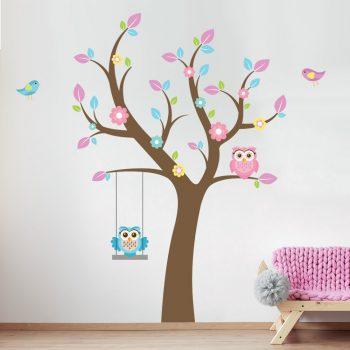 muursticker-uilen-in-boom-vogels-roze-meisjeskamer-kinderkamer-babykamer