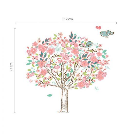 Vrolijke muursticker boom met liefdes vogels