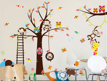 boom met dieren muursticker kinderkamer- muurstickerstunter, Deco ideeën