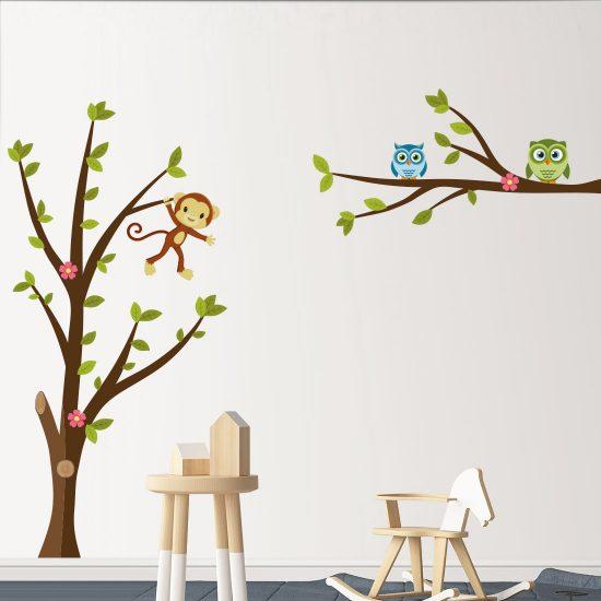 Muursticker boom met uilen & aap voor de kinderkamer
