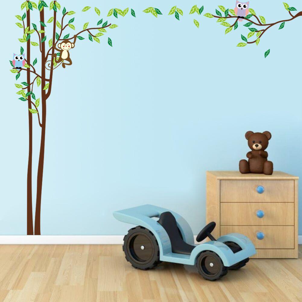 boom met uilen en aap muursticker muurstickerstunter. Black Bedroom Furniture Sets. Home Design Ideas