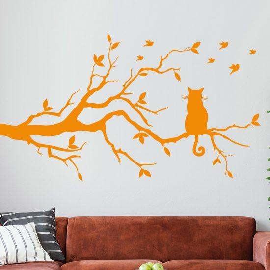 muursticker-kat-boom vogels