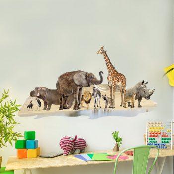 muursticker afrikaanse dieren olifant giraffe zebra leeuw nijlpaard neushoorn struisvogel drinken bij oase in jungle