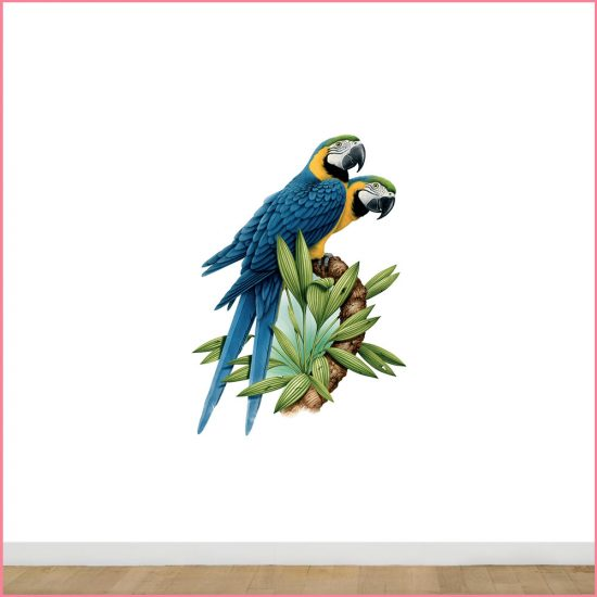 blauwe-ara-papegaaien-muursticker