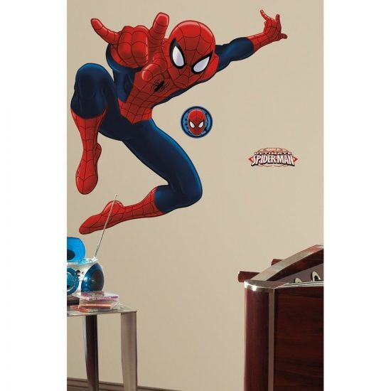 grote spider man muursticker roommates disney york kinderkamer