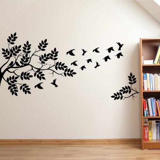 muursticker boom-met-vogels-zwart