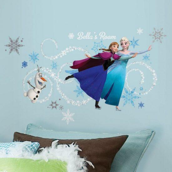 Anna, Elsa & Olaf de Sneeuwpop muursticker Frozen Disney kinderkamer Vrolijke Kleurrijke