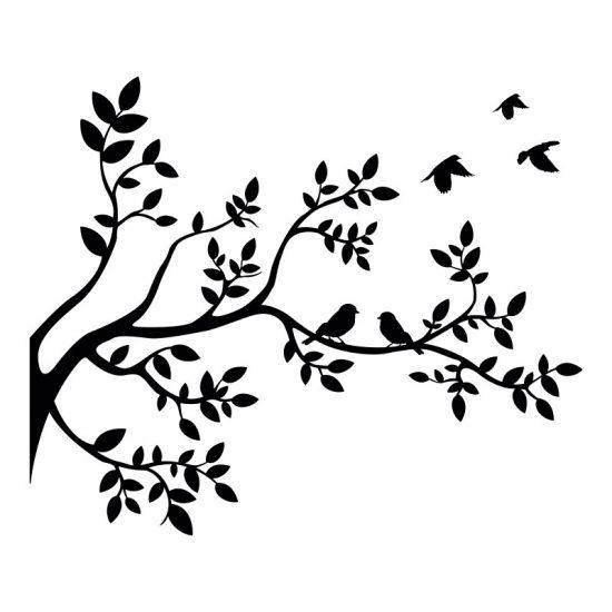 muursticker boom interieursticker woonkamer inspiratie zwart vogels takken lijn