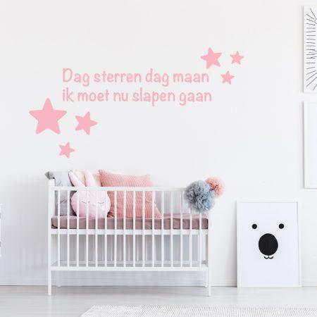 Muursticker Sterren Babykamer.Muursticker Dag Sterren Dag Maan Ik Moet Nu Slapen Gaan Gratis