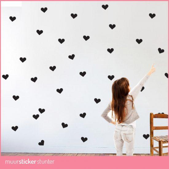 hartjes-muurstickers-kleine-hartjes-zwart-wit-roze-rood-grijs-paars ...