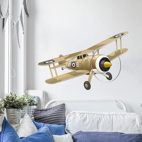 legerkamer-vliegtuig-gevechtsvliegtuig-army-plane-wallsticker-muursticker-wandstikker-stikker