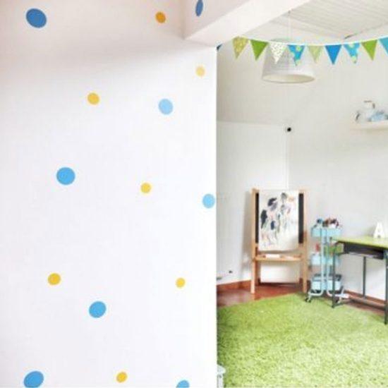 stippen-cirkel-muurstickers-plakkers-wandstickers-kleurrijk-groot-goud-wit-blauw-zwart-goedkoop