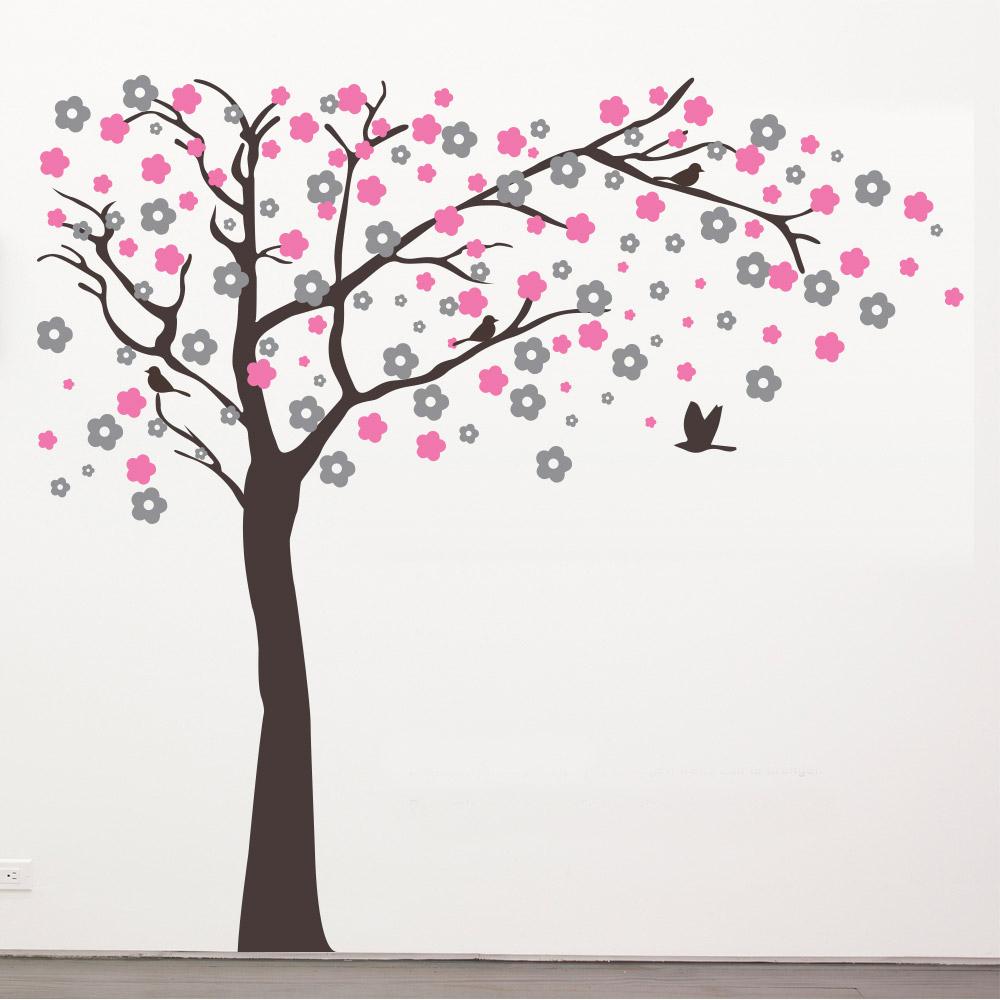 muursticker boom in het roze met vogeltjes, Deco ideeën