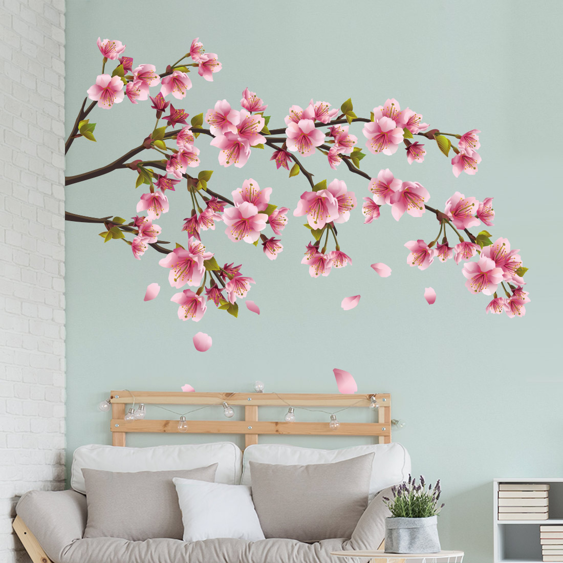 Muursticker bloesemtak met bloemen v a 19 95 gratis Muurteksten woonkamer