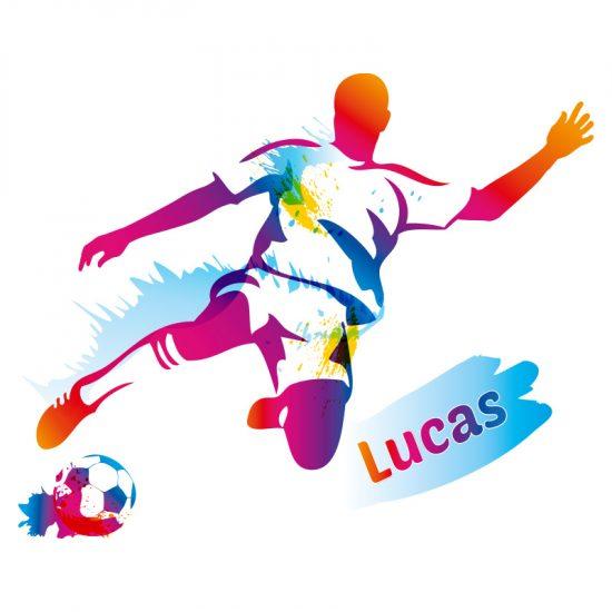muursticker voetbal kleurrijk kinderkamer stoer ideeen inspiratie leuk verf verven voetballer omhaal naamsticker namen