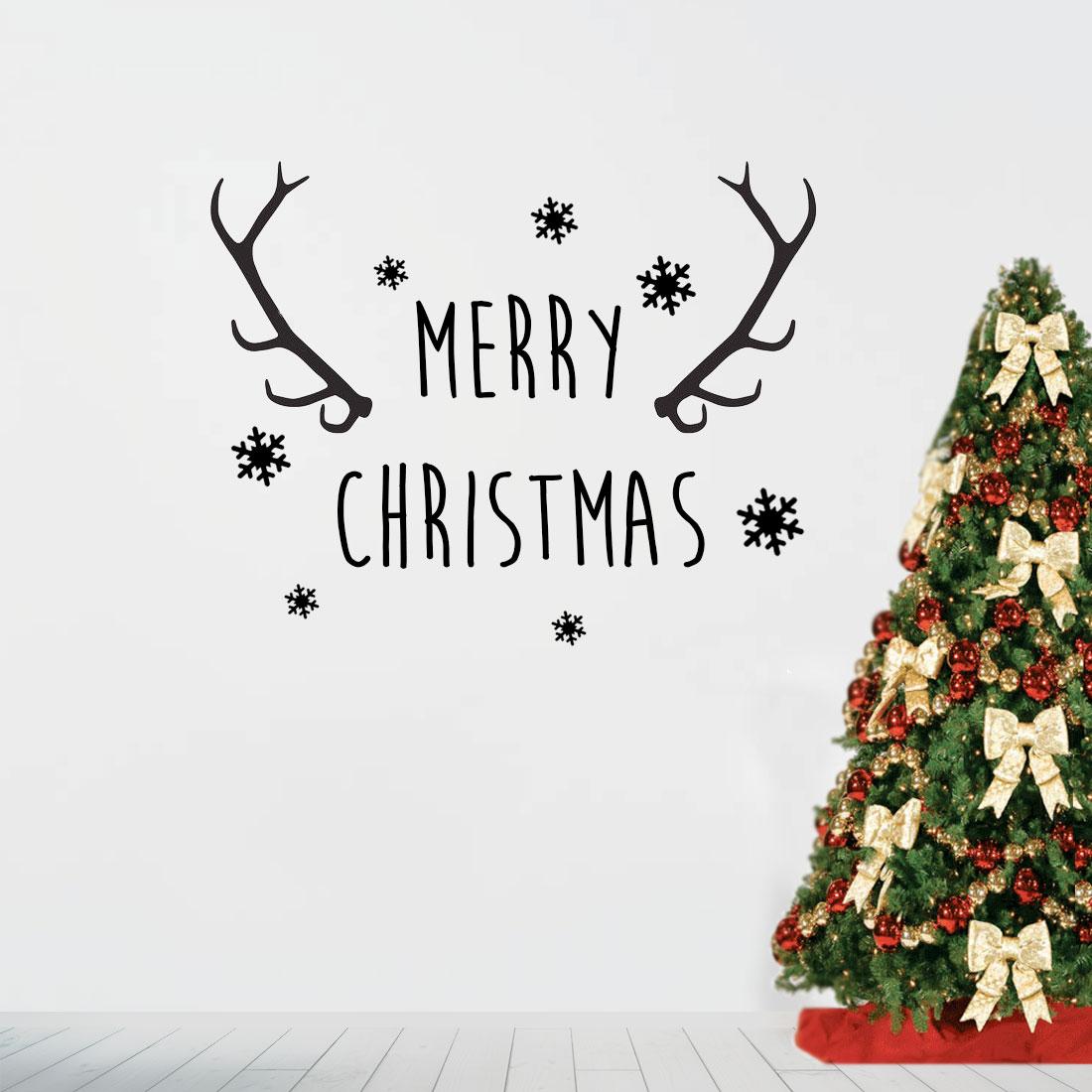 Bedwelming Merry Christmas Kerst Muursticker - v.a. 14,95 Eigen Kleur & Formaat! VG07