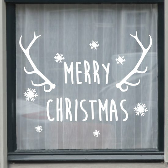 raamsticker kerst merry christmas wit zwart herbruikbaar statische folie