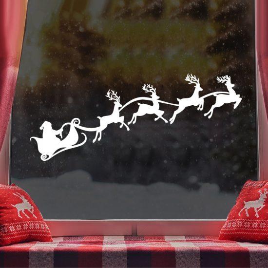 raamsticker statische folie kerst dorp arreslee raam decoratie wit sneeuw gezellig herbruikbaar