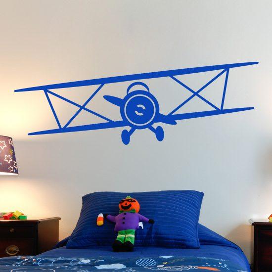 muursticker-dubbeldekker-vliegtuig-vintage-goedkoop-zwart-wit-kinderkamer-