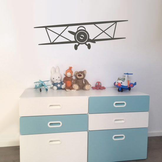 vliegtuig-dubbeldekker-muursticker-kinderkamer-babykamer