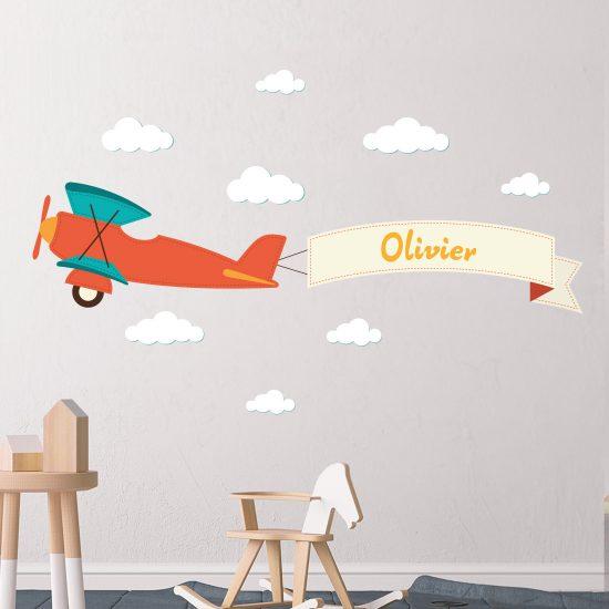 Dubbeldekker-vliegtuig-muursticker-naam-kinderkamer-kleurrijk-goedkoop-muurstickerstunter