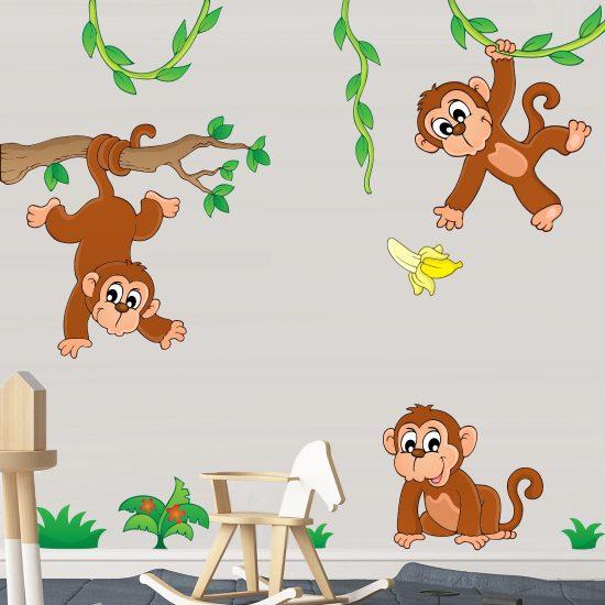 apen-op-tak-muurstickers-kinderkamer-vrolijk-goedkoop-slingeren-bladeren-groen-kinderkamer