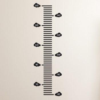 groeimeter muursticker kinderkamer zwart