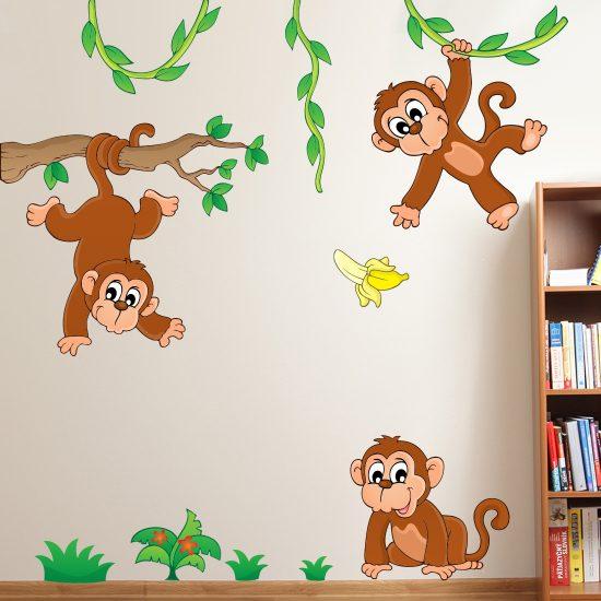 slingerende-apen-muurstickers-kinderkamer-vrolijk-aap