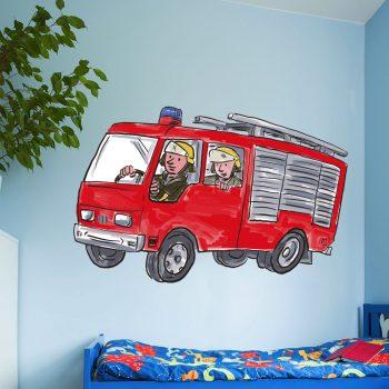 muursticker brandweerauto stickers brandweer fireman firetruck wallsticker