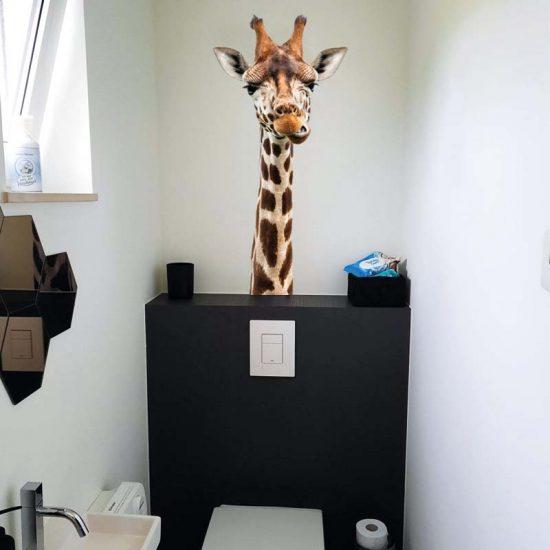 muursticker giraffe wc kinderkamer grappig
