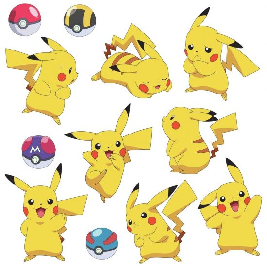 pikachu set muurstickers pokemon pokeball