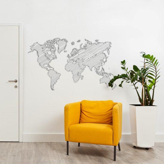 wereldkaart-muursticker-getekend-zwart-wit-grijs-goedkoop woonkamer slaapkamer