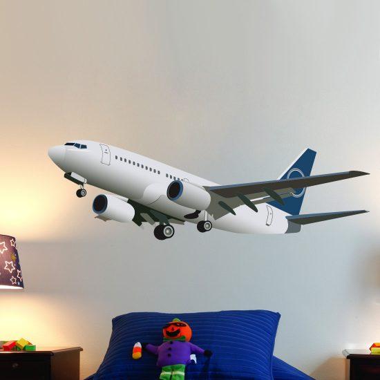muursticker-vliegtuig