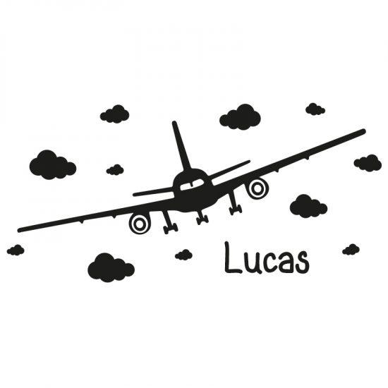 muursticker van vliegtuig met naam en wolken kinderkamer stoer voertuigen wolkjes zwart wit