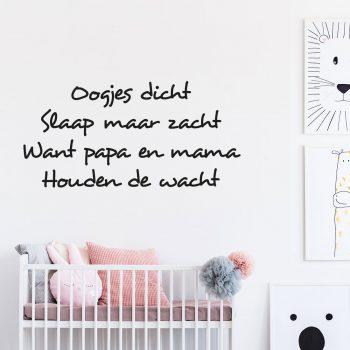 oogjes-dicht-slaap-maar-zacht-want-papa-en-mama-houden-de-wacht-muursticker