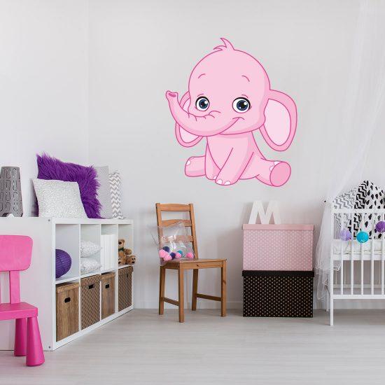 muursticker olifant babykamer voor jongen of meisje - gratis verzending!